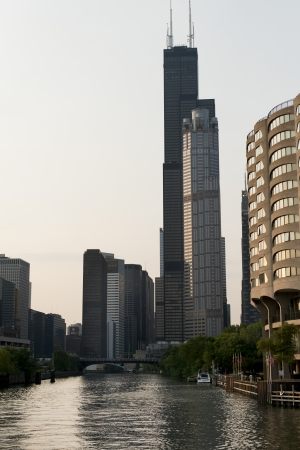 river county: Skyscrapers at the waterfront, Sears Tower, Chicago River, Chicago, Cook County, Illinois, USA Stock Photo