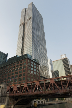 river county: Skyscrapers at the waterfront, Chicago River, Chicago, Cook County, Illinois, USA