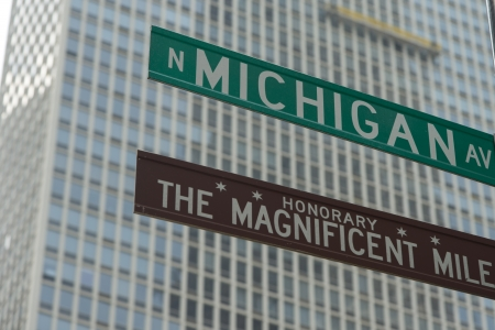 magnificent mile: Low angle view of Magnificent Mile, Michigan Avenue signs, Chicago, Cook County, Illinois, USA