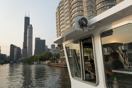 Skyscrapers at the waterfront, Sears Tower, Chicago River, Chicago, Cook County, Illinois, USA Stock Photo