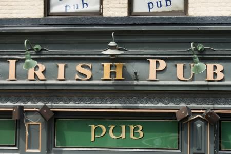 Low angle view of a pub and restaurant, Fado Irish Pub, Clark Street, Chicago, Cook County, Illinois, USA Editorial