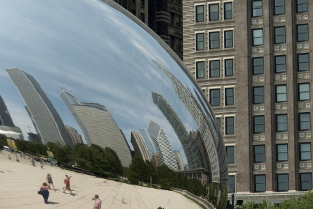 incidental people: Reflection of buildings on Cloud Gate sculpture, Millennium Park, Chicago, Cook County, Illinois, USA