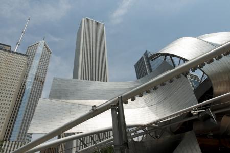 millennium: Low angle view of Jay Pritzker Pavilion, Millennium Park, Chicago, Cook County, Illinois, USA