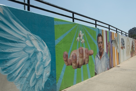 Mural on the wall at a pedestrian walkway, Chicago, Cook County, Illinois, USA