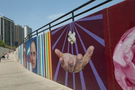 pedestrian walkway: Mural on the wall at a pedestrian walkway, Chicago, Cook County, Illinois, USA