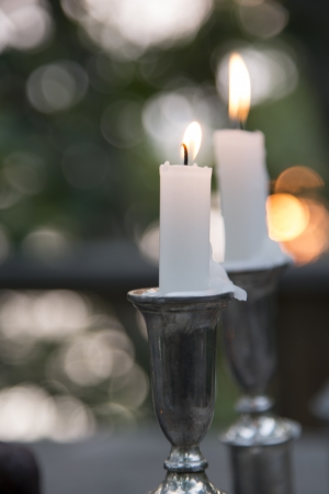 Close-up of burning candles on a candle stand, Lake of The Woods, Keewatin, Ontario, Canada 版權商用圖片