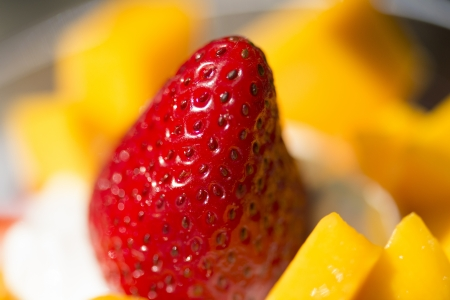 custard flavor: Close-up of strawberry and fruit, Ontario, Canada Stock Photo