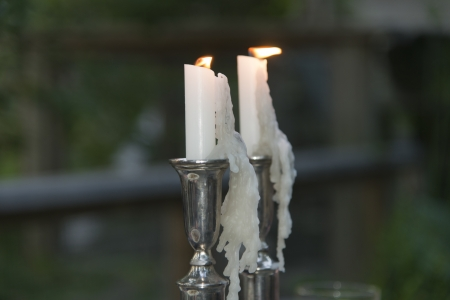 Close-up of burning candles on stand, Lake of The Woods, Keewatin, Ontario, Canada Zdjęcie Seryjne