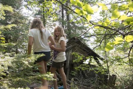 unorganized: Girls standing in a forest, Kenora, Unorganized Kenora, Ontario, Canada