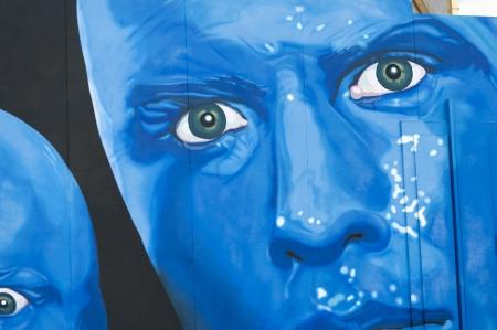 male likeness: Blue Man Group Billboard en Sharp Aquos Theatre, Universal CityWalk, Orlando, Florida, EE.UU.