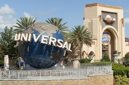 western script: Entrance of the Universal Studios, Orlando, Florida, USA