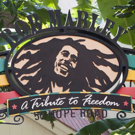 western script: Signboard at Bob Marley Restaurant at Universal CityWalk, Universal Studios, Orlando, Florida, USA Editorial