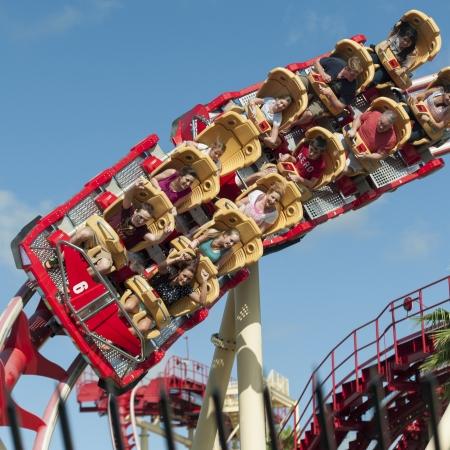 People enjoying rollercoaster ride, Universal Studios, Orlando, Florida, USA