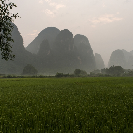 placidness: Agricultural field with mountains in the background, Yangshuo, Guilin, Guangxi Province, China
