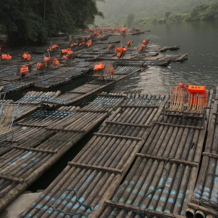 Bamboo rafts in the Yulong River, Yangshuo, Guilin, Guangxi Province, China