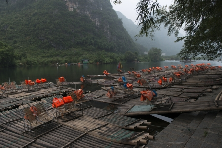 placidness: Bamboo rafts in the Yulong River, Yangshuo, Guilin, Guangxi Province, China