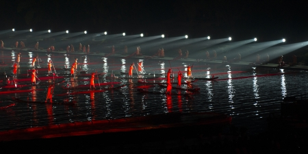 Impressions light show in the Yulong River, Yangshuo, Guilin, Guangxi Province, China