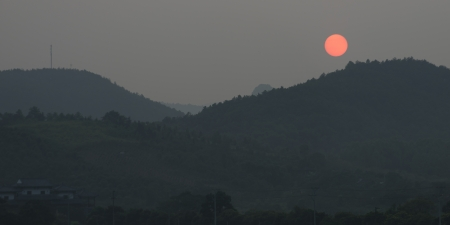 placidness: Sunset over mountain, Yangshuo, Guilin, Guangxi Province, China