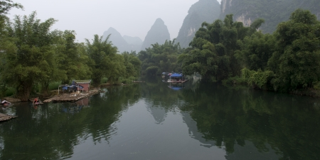 Wooden rafts in the Yulong River, Yangshuo, Guilin, Guangxi Province, China