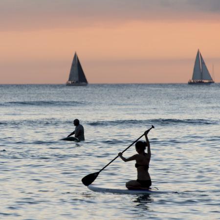 paddleboard: People paddleboarding in the ocean, Waikiki, Honolulu, Oahu, Hawaii, USA