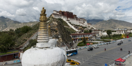 potala: Stupa with Potala Palace in the background, Lhasa, Tibet, China