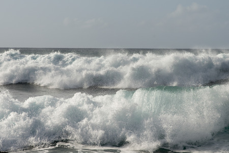 north shore: Waves on the beach, Haleiwa, North Shore, Oahu, Hawaii, USA Stock Photo