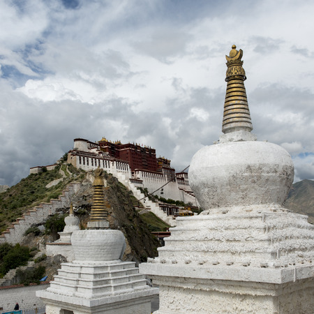 potala: Stupas with Potala Palace in the background, Lhasa, Tibet, China Editorial