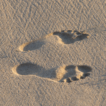 footmark: Footprints on the beach, Waikiki, Honolulu, Oahu, Hawaii, USA Stock Photo