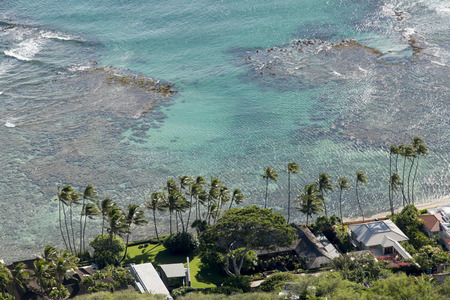 High angle view of resort on the beach from Diamond Head, Kapahulu, Honolulu, Oahu, Hawaii, USA