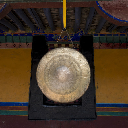 clang: Close-up of a gong in Jokhang Temple, Lhasa, Tibet, China Stock Photo