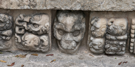 archaeology: Carving details at an archaeological site, Copan, Copan Ruinas, Copan Department, Honduras