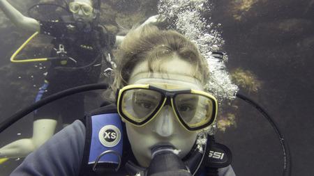 Les plongeurs sous-marins, Utila, Bay Islands, Honduras