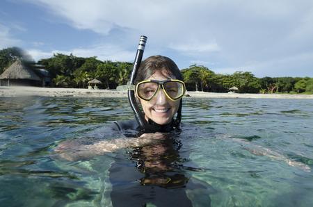 utopia: Female scuba diver in the sea, Utopia Village, Utila, Bay Islands, Honduras