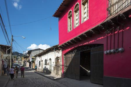 incidental people: Buildings along a street, Copan, Copan Ruinas, Honduras