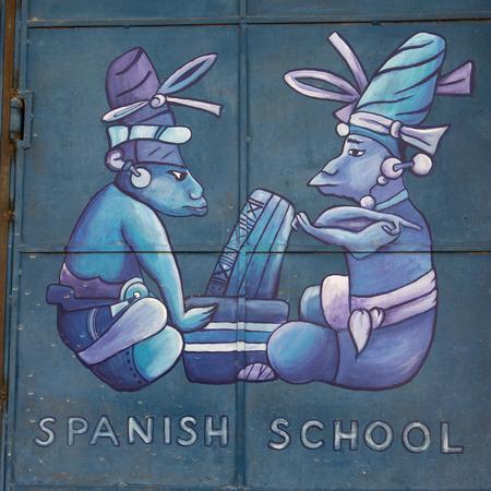 Mural on door, Barrio El Centro, Copan, Copan Ruinas, Honduras