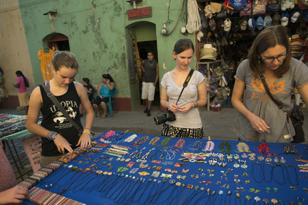 Tourists shopping at street market, Copan, Copan Ruinas, Honduras