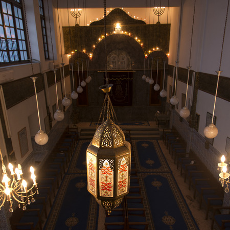 jewish quarter: Interiors of Lezama Synagogue, Mellah, Medina, Marrakesh, Morocco Editorial