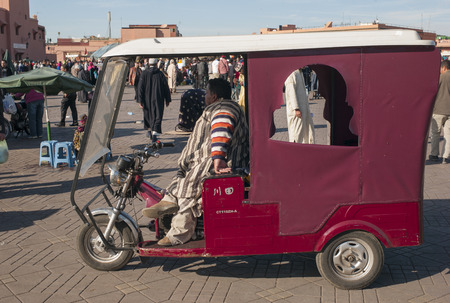 auto rickshaw: Auto rickshaw on a street, Marrakesh, Morocco Editorial
