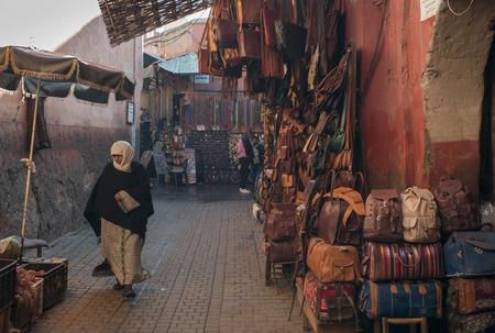 souk: Display of bags at street market, Marrakesh, Morocco