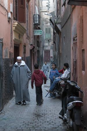 jewish group: People on the street, Mellah, Marrakesh, Morocco Editorial