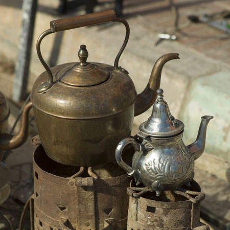 made in morocco: Close-up of antique metal products, Tamzawrout, Morocco Stock Photo