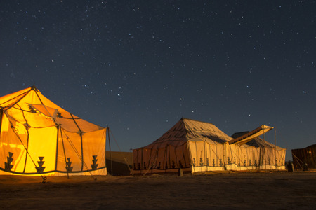 erg: Tents at Erg Chigaga Luxury Desert Camp in Sahara Desert, Souss-Massa-Draa, Morocco Stock Photo