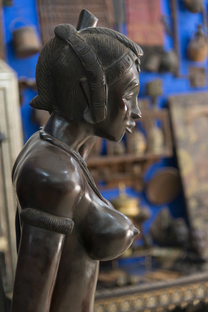 female likeness: Close-up of an antique statue, Ouarzazate, Morocco