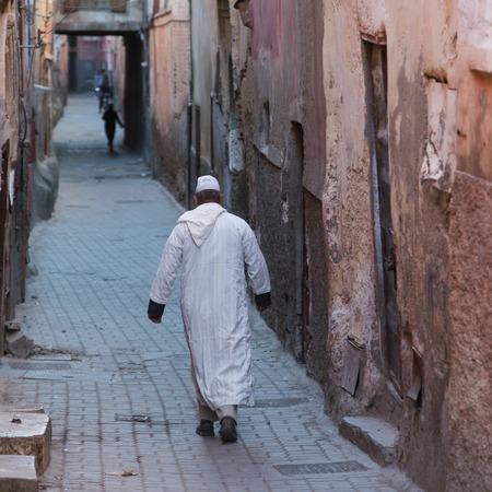 jewish quarter: Man walking on a street, Mellah, Medina, Marrakesh, Morocco Stock Photo