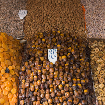 Dried fruits and nuts in a store, Marrakesh, Morocco Foto de archivo
