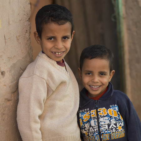 north africa: Portrait of two boys smiling, Ouarzazate, Souss-Massa-Draa, Morocco