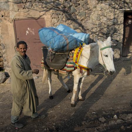 Berber man with donkey on a street, Imlil, Atlas Mountains, Morocco