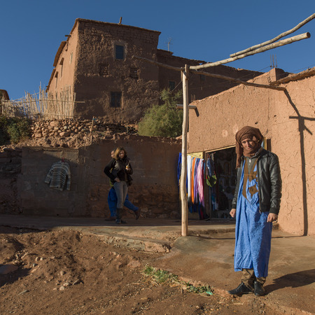 only three people: People at fortress, Ait Benhaddou, Ouarzazate, Souss-Massa-Draa, Morocco