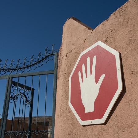 Sign on gate of Atlas Corporation Studios, Ouarzazate, Morocco