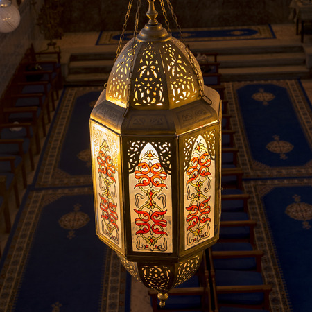 jewish quarter: Close-up of a lantern at Lezama Synagogue, Mellah, Medina, Marrakesh, Morocco